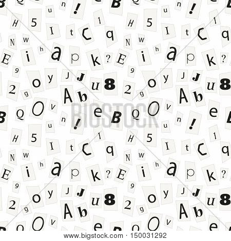 Black newspaper letters on paper scraps latin alphabet signs and numbers on white seamless pattern