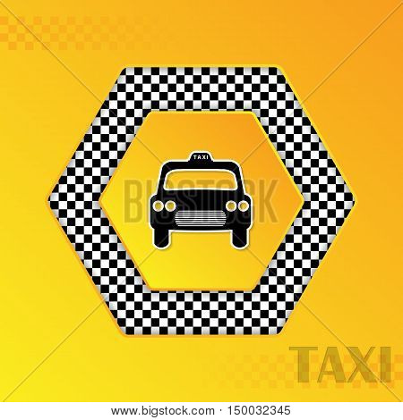 Checkered taxi template design with cab silhouette in center