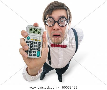 Funny and crazy accountant is showing calculator. View from top. Isolated on white background.