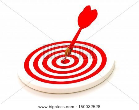 Red bullseye dart arrow hitting target center of dartboard isolated on white background.