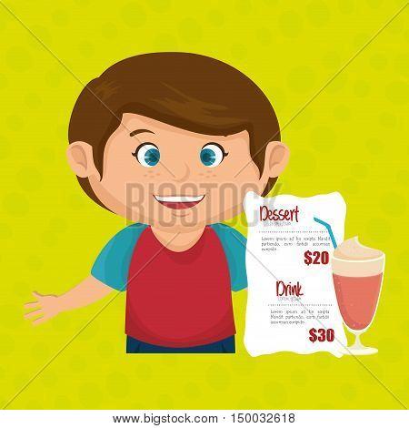 cartoon boy menu food drink vector illustration eps 10