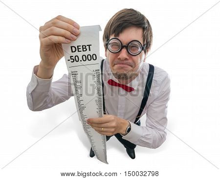 Crazy And Funny Disappointed Accountant Is Showing Long Receipt