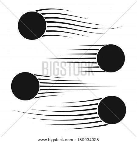 Flying balls set with speed lines. Motion effects collection for your design. Vector illustration