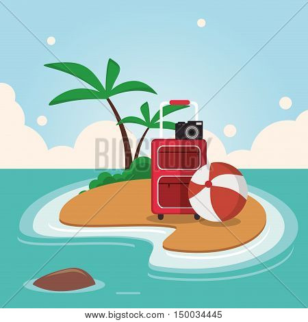Bag camera ball and palm tree icon. Vacations beach and summer and theme. Colorful design. Vector illustration