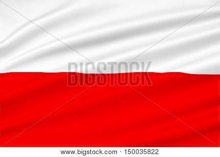 Flag of Poland. 3D illustration. Red and white