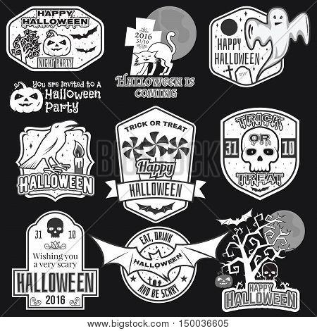 Halloween Vintage Badges, Emblems Or Labels.