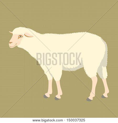 sheep vector illustration style Flat profile side