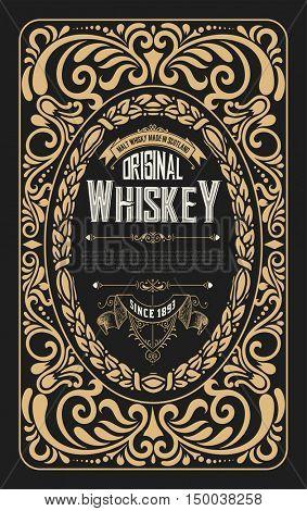 Old frame label design for Whiskey and Wine label, Restaurant, Beer label.