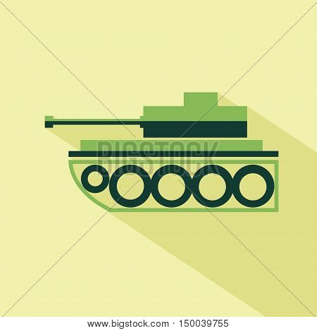 Vector flat tank icon. Isolated colored icon for logo web site design app UI. Flat military illustration for posters cards book cover flyers banner web game designs.