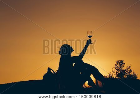 Silhouette Of Girl With Wine