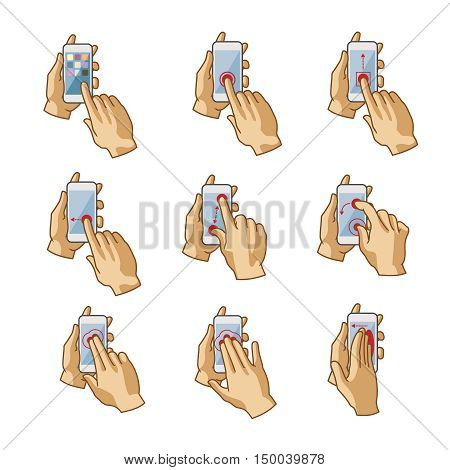 Vector smartphone touchscreen hand gestures set isolated on white