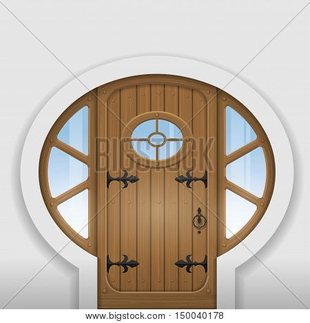 Fairy arched wooden door with round windows. Entrance to the home. Vector graphics