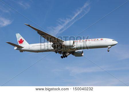London, Heathrow, UK - 03 october 2016: Boeing 777 Air Canada landing at London Heathrow airport