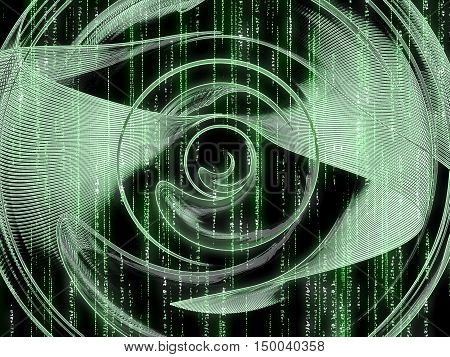 Abstract fractal background - computer-generated image. Digital art: green technology style disk with matrix effect. Backdrop or graphic design element for covers, banners, posters.