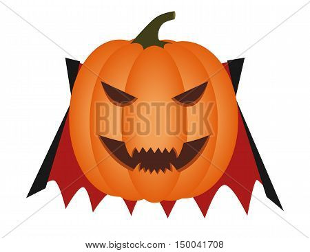 Halloween pumpkin carved as a vampire with red and black cloak.