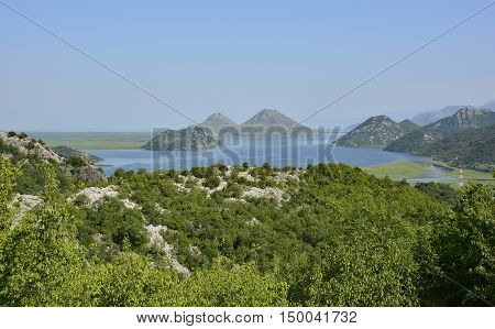 The biggest lake in the Balkans Skadarsko Jezero or Skadar Lake. Photograph taken from near Donja Sela in Montenegro.