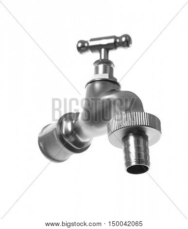 Metal tap isolated on white, saving water concept