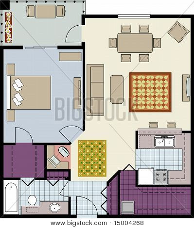 Floor plan of one-bedroom condo with den and furniture
