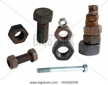 old rusty bolts and nuts with thread and shiny new. isolated on white background without shadows. easy to cut.