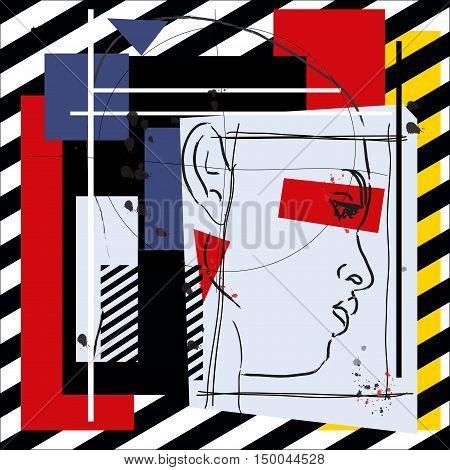 Fashion girl cubism modern illustration. Vector illustration.