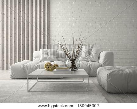 Interior modern design room 3D rendering