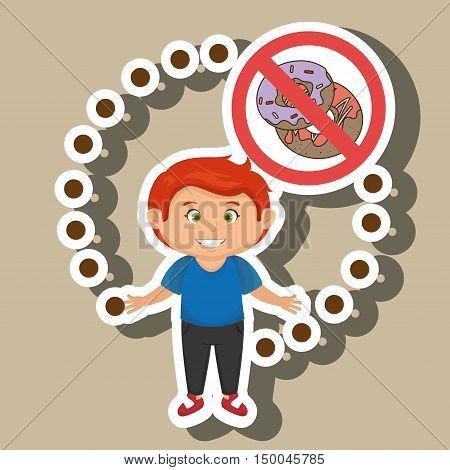 cartoon child fast food danger symbol vector illustration