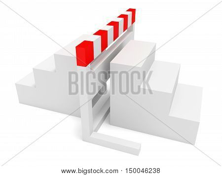 Hurdle With Stairs On Both Sides 3d illustration
