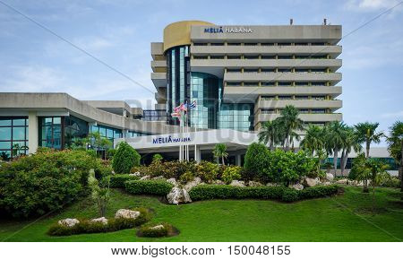 HAVANA - CUBA JUNE 11, 2016: The Melia Habana is an elegant hotel located on the coast in the Miramar business and residential district of the city.