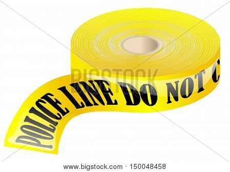 police tape isolated on a white background