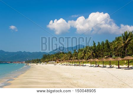 Doc Let, Vietnam, May 15, 2015. The white sand beach.