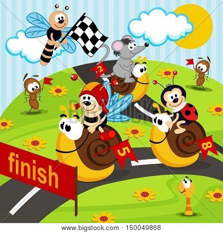race on snails  - vector illustration, eps