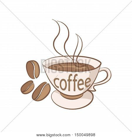 A cup of organic coffee on a white background illustration