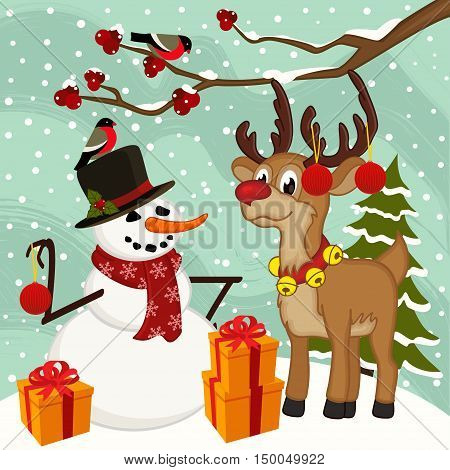 reindeer snowman Christmas  - vector illustration, eps