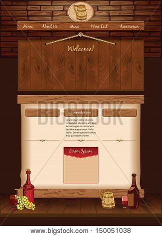 Web template for vintage cafe, vector background