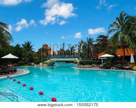 Bali, Indonesia - December 25, 2008: The swimming pool and park in Ayodya Resort Bali at Nusa Dua, Bali, Indonesia