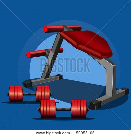 Sports equipment for power gym, fitness center.Dumbbells and a sports trainer (bench press) for weightlifting. Vector illustration