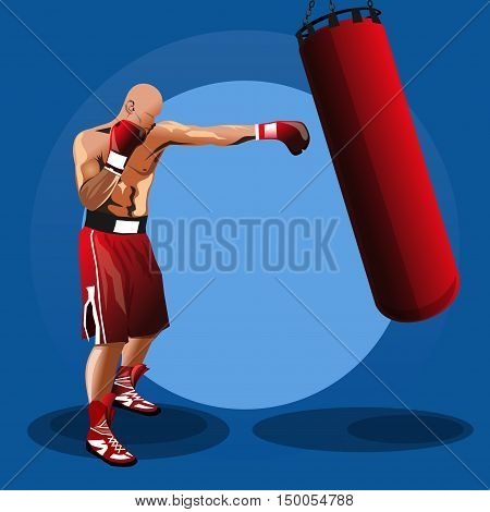 Boxer. Boxing logo. Training with punching bag. Colored vector illustration for sport fight club. Boxing emblem, label, badge