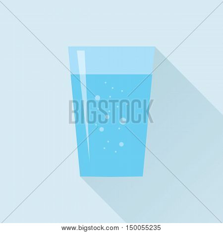 Glass of fresh aerated water icon in flat style isolated on sky blue background. Stylized vector eps10 illustration.