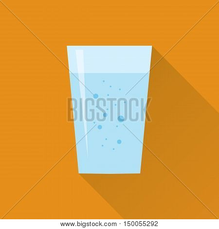 Glass of fresh aerated water icon in flat style isolated on orange background. Stylized vector eps10 illustration.