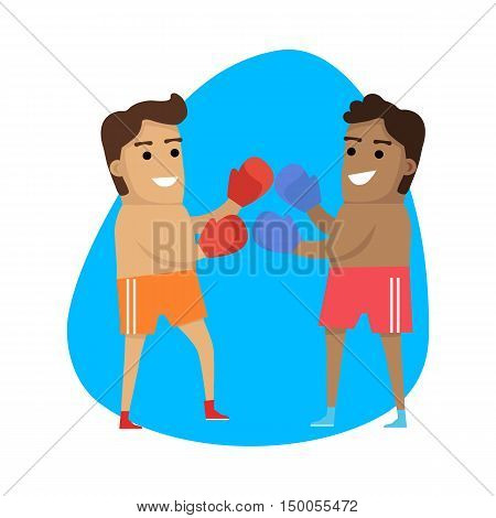 Boxing sport web button. Combat sport two people wearing protective gloves throw punches for predetermined time in boxing ring. Vector