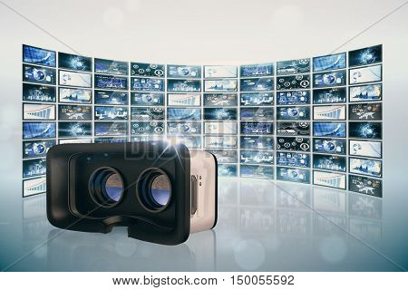Virtual reality simulator over white background against screen collage showing business images
