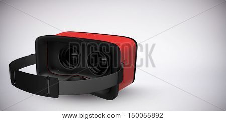 Digital image of red virtual reality simulator against grey background