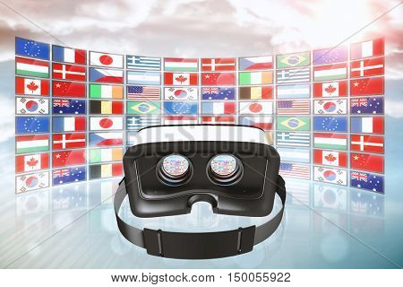 Digital image of virtual reality simulator against screen collage showing international flags