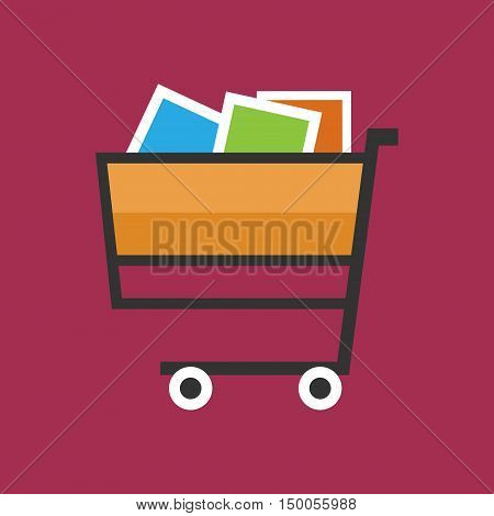 Cart Basket of Goods Isolated on Pink Background,Trolley for Purchases, Vector Illustration