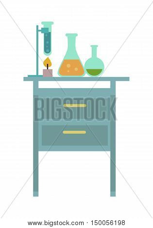 Chemical laboratory. Workplace. Lab glassware kit on table, chemical tools. Isolated vector illustration on white background.