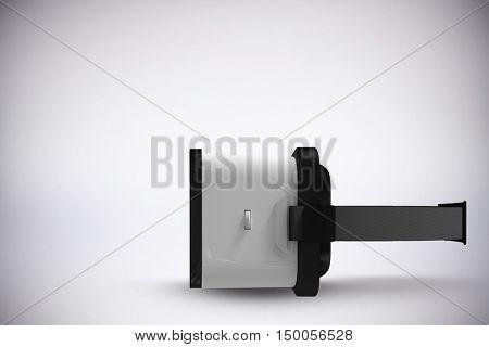 Digital image of white virtual reality simulator against grey background