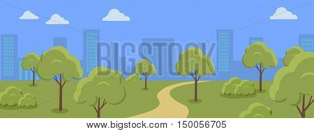 Urban cityscape with park, trees, shrubs, blue sky and white clouds. Silhouettes of buildings. Office buildings, building scenery, urban landscape, urban background, city panorama