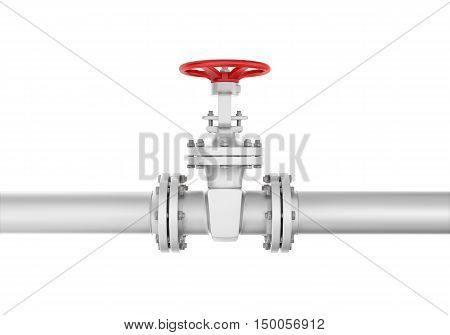 3d rendering metal valve on curved pipe, isolated on white background. Water supply and sewerage system. Oil and Gas. Energy facilities. Housing and communal services.