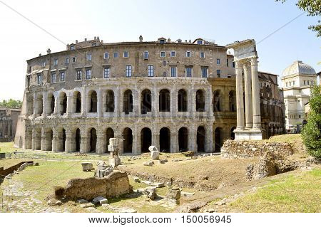 Rome Italy - September 12 2016 : The historical Marcello Theater in Rome