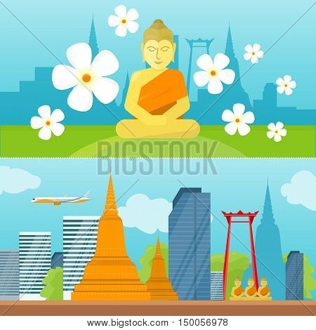 Set of Thailand tourism poster design with attractions. Horizontal banner with cityscape, buddha, pagoda, flowers. Thailand landmark. Thailand travel poster design in flat. Travel composition.
